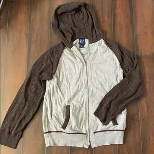 Brown and gray zip up with burgundy stitching